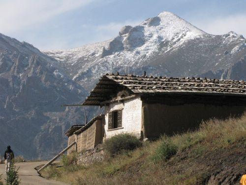 mountain snowy tibetan architecture