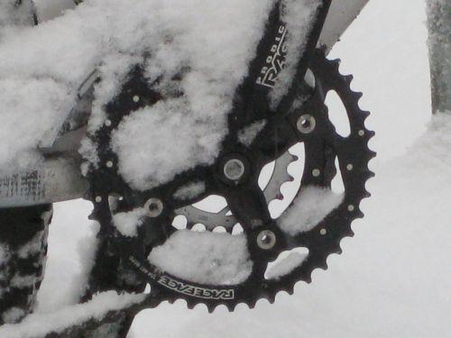 mountain bike bike snowed in