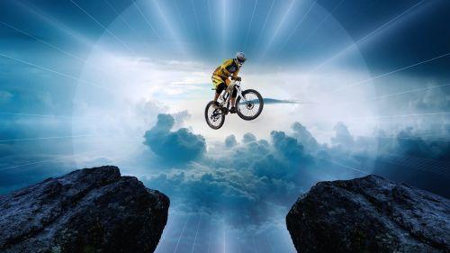 mountain bike jump friends
