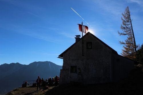 mountain hut larch sky