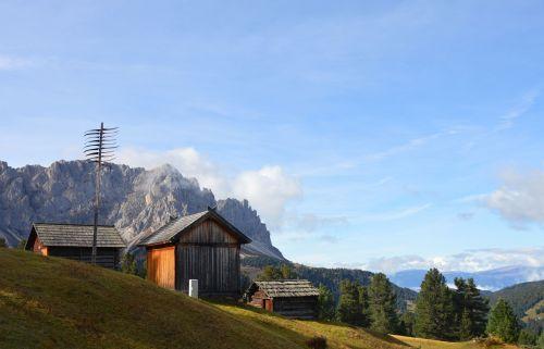 mountain hut dolomites mountain meadow
