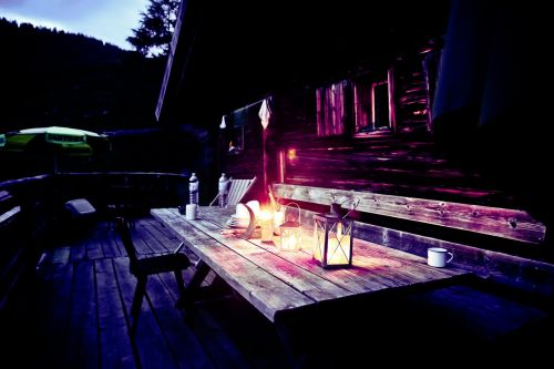 mountain hut hut evening alpine hut