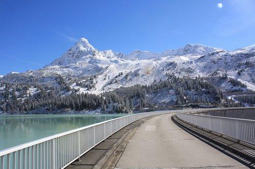 mountain lake  mountain reservoir  dam