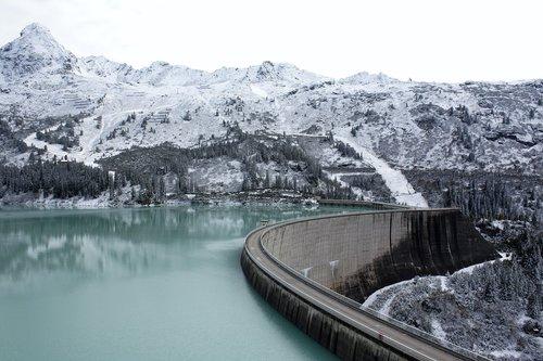 mountain lake  mountain reservoir  kopsstausee