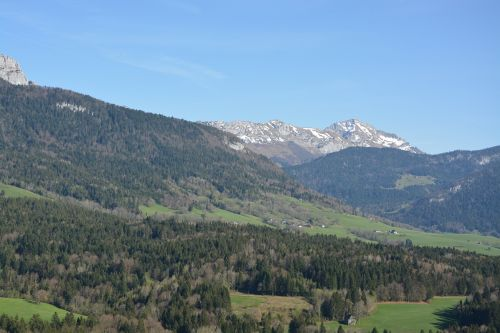mountain landscape blue sky annecy