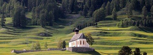 mountain meadow  chapel  alpine