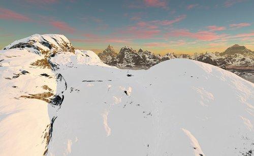 mountain ridge  snow  white