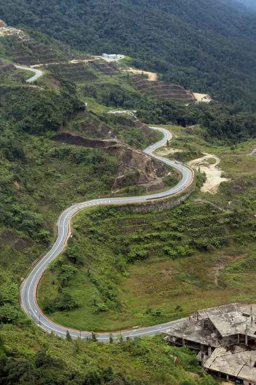 mountain road  aerial view  curve