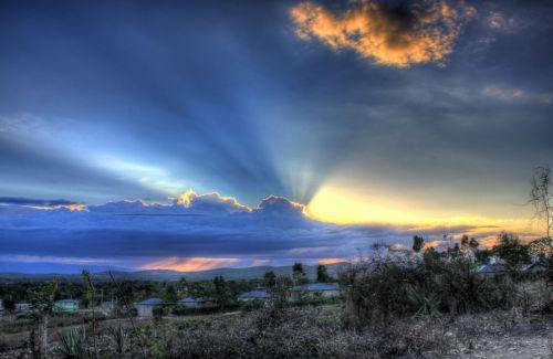 haiti, vaizdingas, kraštovaizdis, saulėlydis, debesys, kalnų saulėlydis už debesų