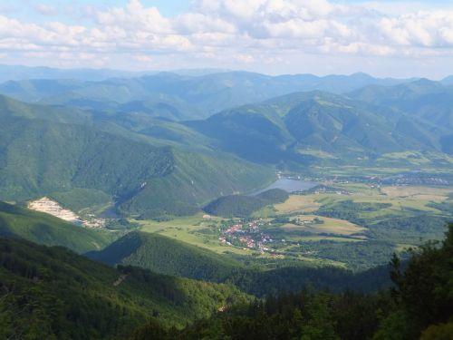 kalnas, slėnis, slovakija, vaizdas, peizažas, žalias, ežeras, kaimas, kalnų slėnis