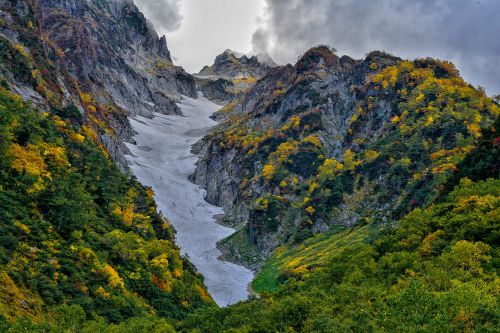mountainous landscape autumnal leaves the three windows of the glacier