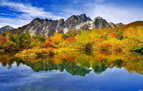 mountainous landscape autumnal leaves reflection of the surface of the water