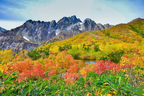 mountainous landscape autumnal leaves 剣岳