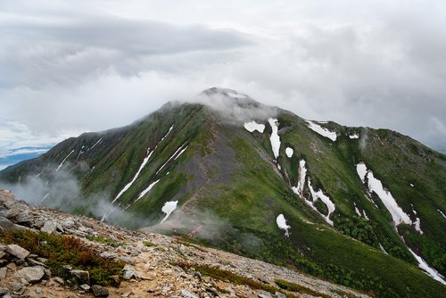 mountainous landscape  due to bad weather  trail