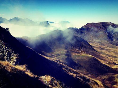 mountains crags mist