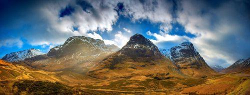kalnai,panorama,kraštovaizdis,debesys,akmenys,vaizdingas,trys seserys,Škotija,dangus,smailės,vulkaninis glenas