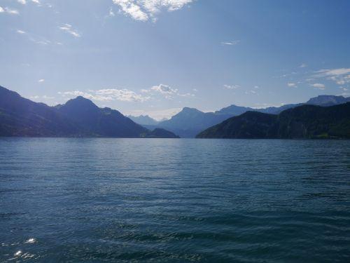 mountains water lake