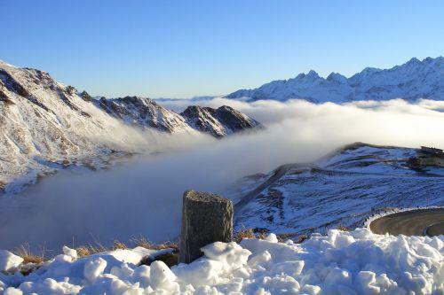 kalnai,grossglockner,rūkas,saulė,sniegas,Alpių,žinomas,aukštas Alpių kelias