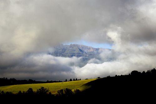 mountains clouds drakensburg