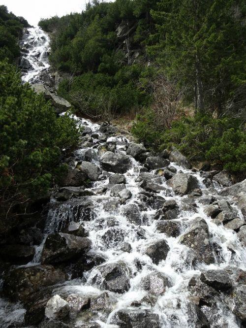 mountains waterfall tatry