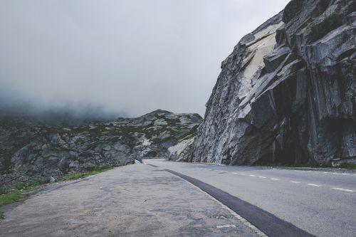 mountains road fog