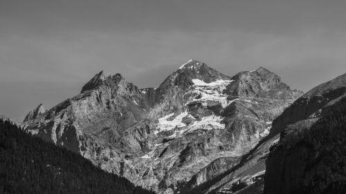 mountains black and white mountain peaks