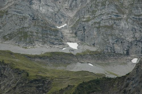 mountains rock snowfield