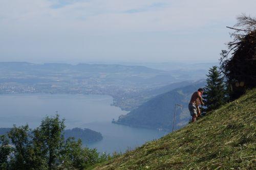 mountains lake lucerne region inner switzerland
