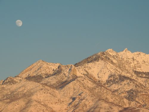 mountains snow moonrise