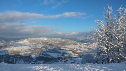mountains winter slopes