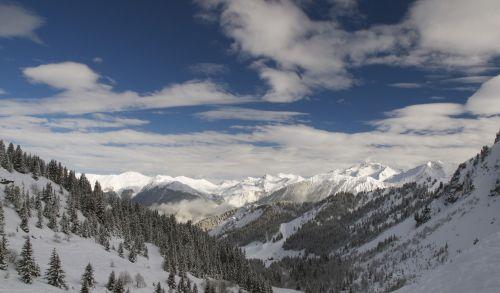 mountains slopes sky