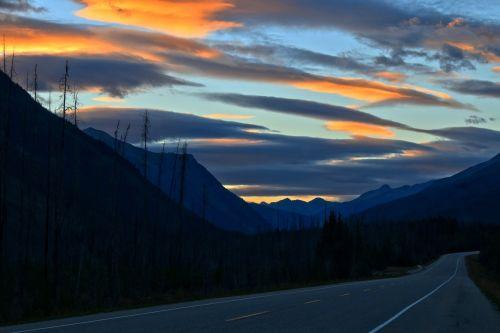 mountains outdoors dusk