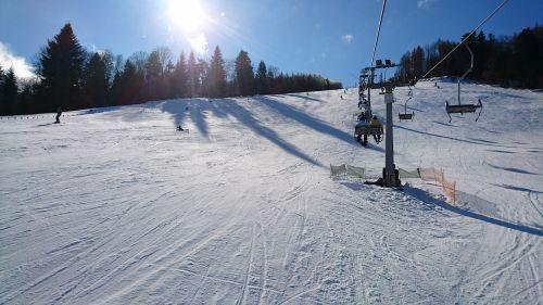 mountains snow skis