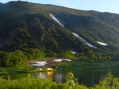 mountains lake tourist camp