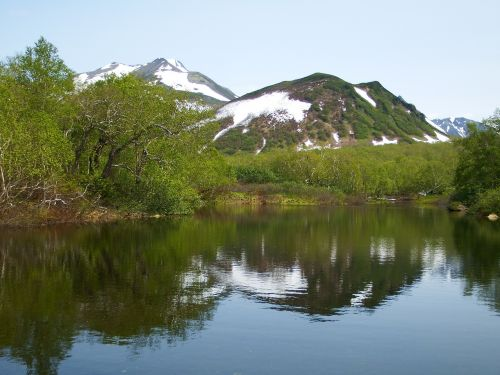 mountains volcano lake