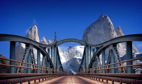 mountains bridge travel