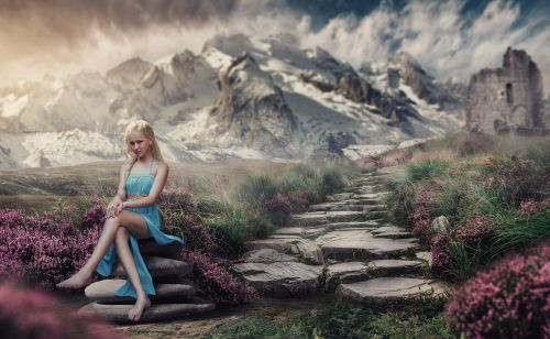 mountains girl landscape