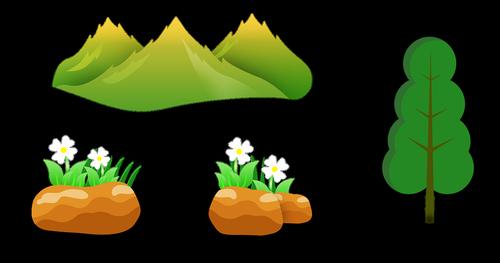 mountains  tree  grass