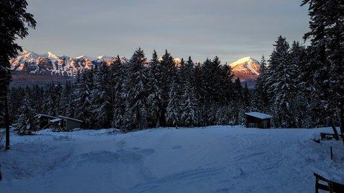 mountains  kicking horse  snow