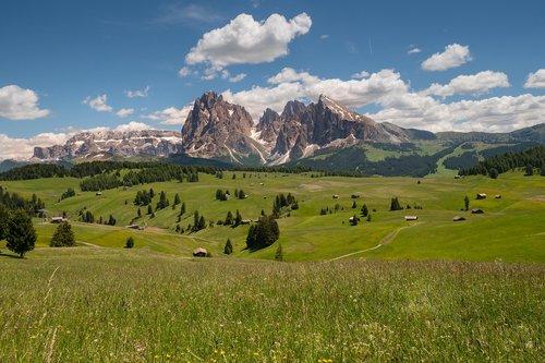 mountains  seiser alm  plattkofel