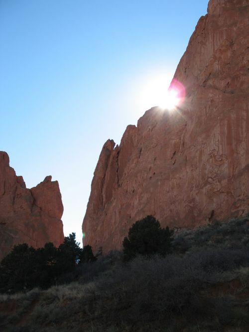 mountains garden of gods sunlight