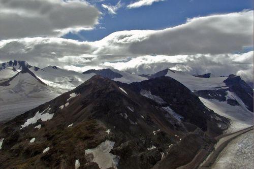mountains snow sky