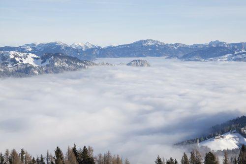mountains fog landscape