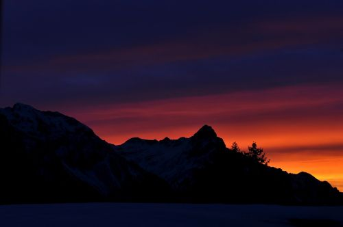 mountains mountain peaks sunrise