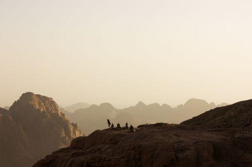 mountains dawn rocks
