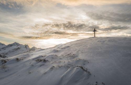 mountains landscape cross