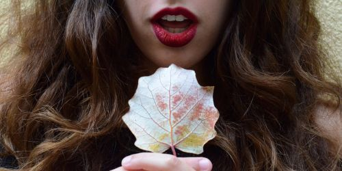 mouth red lipstick leaf