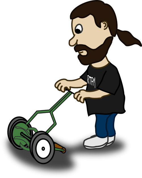 mowing guy man