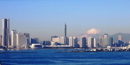 mt fuji yokohama the bay bridge