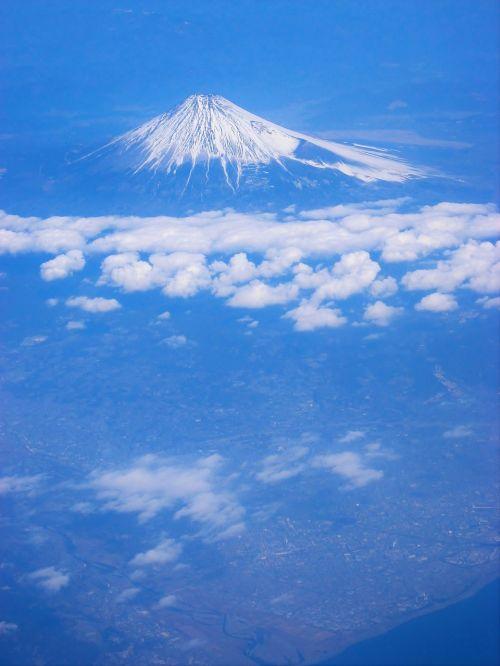 mt fuji aerial photograph cloud